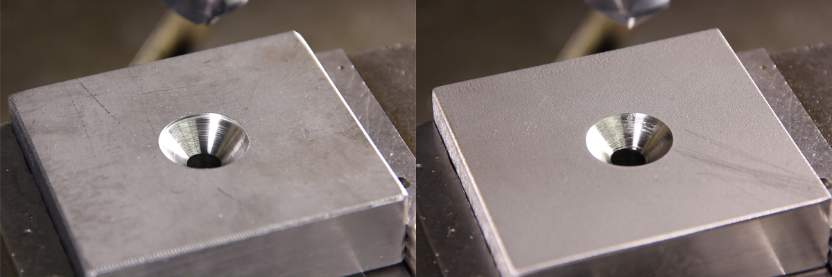 ULTIMATECUTE countersink with RUnaTEC coating in structural steel left and stainless steel right